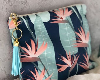 Tropical / Bird of Paradise Print Print Zippered Pouch / Tassle Clutch / Made in Maui Hawaii