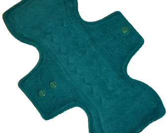 Super Core- Teal Cotton Velour Reusable Cloth Overnight Pad- 10.5 Inches (26.5 cm)
