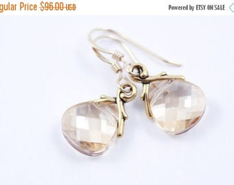 ON SALE Bridesmaid Earrings Set of 6 Crystal Golden Shadow Earrings