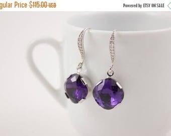 ON SALE Bridesmaid Jewelry Set of 5 Deep Purple Crystal Wedding Earrings in Silver