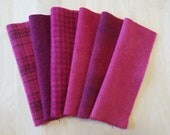 Fuchsia - Deep Pink - Hand Dyed Felted Wool Fabrics Perfect for Rug Hooking and Applique