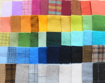 SALE Hand Dyed Felted Wool Scraps Bundle Number 1285 By Quilting Acres