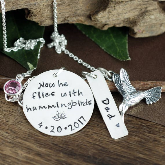 Hummingbird Necklace, Memorial Necklace, Hand Stamped Jewelry, Personalized Sympathy Jewelry, Hummingbird Jewelry, Gift for Her, Loss of Dad