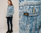 Oversized Denim Jacket 80s Jean Jacket LEE Denim Jacket Blue Stone Acid Wash 1980s Vintage Biker Button Up Trucker Hipster Large