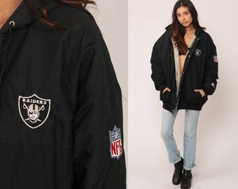Oakland Raiders Jacket Hooded STARTER Football NFL Jacket HOODIE Jacket 90s Streetwear Coat Hood Vintage Black Warm Large