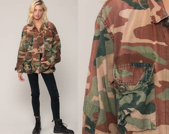 Camo Army Shirt Military Shirt Camouflage Olive Drab Green Distressed Commando Button Up Grunge Oversized Vintage Medium
