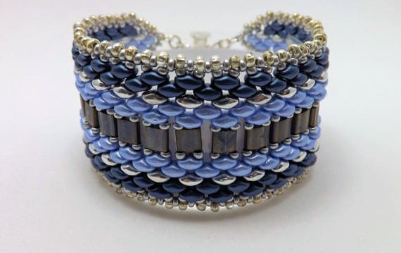 Cuff Style Bracelet in Blue & Black with Silver Bead Edging SKU BR1031