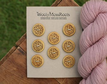 8 Wood Floral Buttons- Yellowheart Wood- Wooden Buttons- Eco Craft Supplies, Eco Knitting Supplies, Eco Sewing Supplies