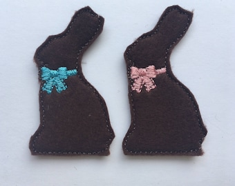 Chocolate Easter Bunny  Feltie Set of 4