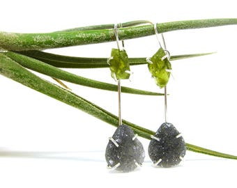 Rough Peridot & Smoky Quartz Druzy Silver 2-in-1 Earrings
