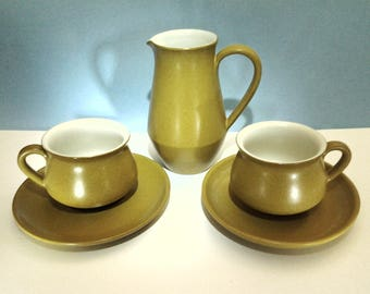Denby Potpourri Stoneware Tall Creamer Two Cups and Saucers