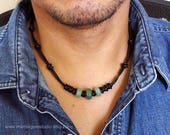 Mens Leather Necklace, Black Leather Cord, Green Aventurine, Indian Agate Stone, Men's Choker Necklace, Handmade for Him