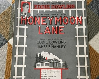 Vintage 1926 The Little White House at the End of Honeymoon Lane Sheet Music