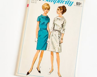 Vintage 1960s Womens Size 40 One Piece Dress with Two Skirts Simplicity Sewing Pattern 6799 FACTORY Folds / b42 w34 / A-line or Slim Skirt