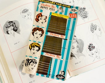 Vintage 1960s Hair Pins / Sta-Rite Cushion Tip Gold Bobby Pins Original Card Partially Used / Retro Hair Styling Salon Vanity Display Prop