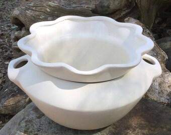 Violet pot, African violet pot, large, white,  matte, planter, house plant, violet, self watering