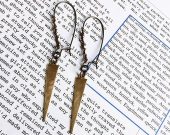 Brass Spike Earrings - Antiqued and Raw Brass Dangle Earrings - Brass Drop Earrings (Ready to Ship)