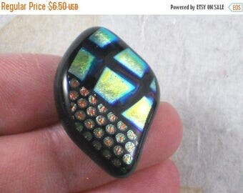 ON SALE Checks & Dots Cabochon Fused Dichroic Glass free form Diamond - Wirewrap or Mount for OOAK Pendant (3110)