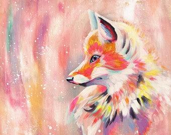 Magic Fox - Original acrylic painting on canvas, colorful painting, fox painting, animal painting, rainbow painting, playroom art, fun art