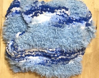 Thick Blue Scarf, Thick Blue Scarf, Blue Circle Scarf, Blue Fur Scarf, Blue Fur Circle Scarf, Soft Blue Circle Scarf