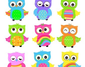 Rainbow Clip Art '/ Owl Rainbow Clip Art, Baby Shower Owls Clipart,Birthday Owls Clip Art, Summer Owl, Bright color Owl,Instant download