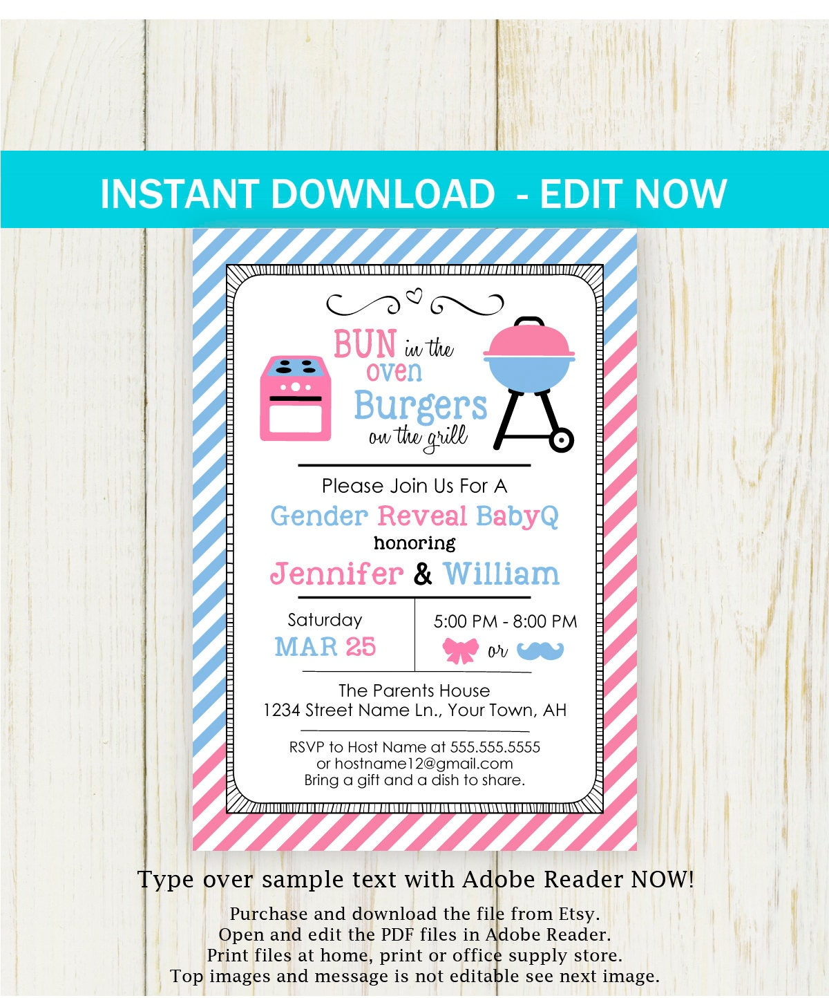 BBQ Gender Reveal Invitation, Printable Edit NOW baby shower ...
