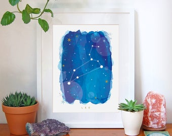 Leo Star Sign, Leo Zodiac Art Print, Astrology Gift, Leo Gifts, Horoscope Art, Constellation Poster, Horoscope Decor, A4, A3