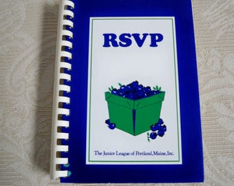 "Vintage Cookbook "" RSVP"" Junior League Portland Maine 1982"