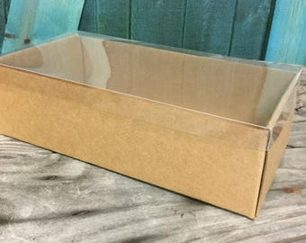 25% Off Summer Sale Heavy Kraft Cardboard Boxes set of 50 - Clear Top - Extra Large