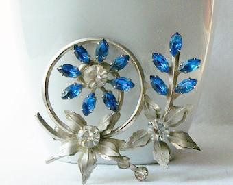 Vintage Blue Rhinestone Flower Brooch, Something Old Something Bue, Flower Pin