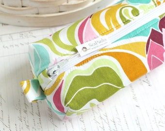 Bright Colorful Floral Pencil Case Floral Boxy Pouch Modern Floral Print