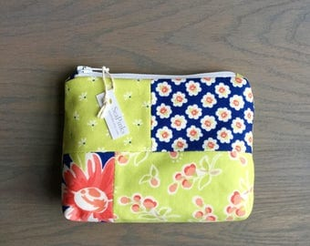 Small Coin Purse Change Purse Card Holder Blue and Green Zipper Pouch