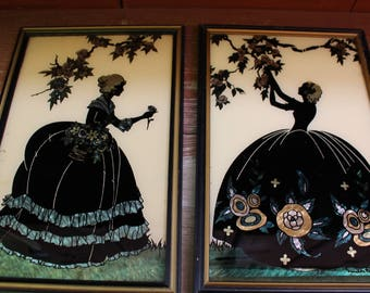 """Vintage 1930's Silhouette Reverse Painted Glass Pictures """"Old Fashion Garden"""" and """"Blossom Time"""" Smith Frederick"""
