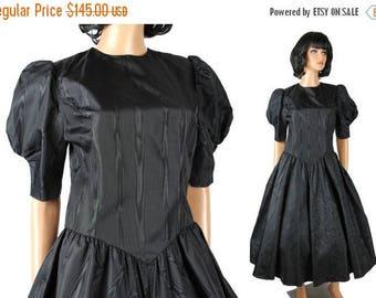 ON SALE 80s Prom Dress 6 M Vintage Black Sharkskin Taffeta 50s Style Gown Short Sleeve Free Us Shipping