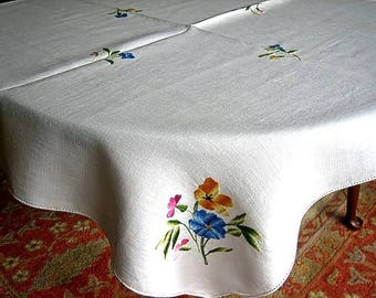 Embroidered Vintage TABLECLOTH Lovely LINEN Pansies Society Silk Bouquets
