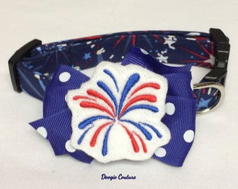 Patriotic Fireworks Summer Dog Collar Size XS through Large by Doogie Couture Pet Boutique