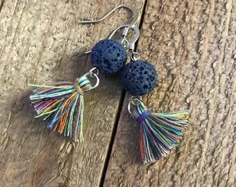 Pretty Tassle Diffuser Earrings - Blue