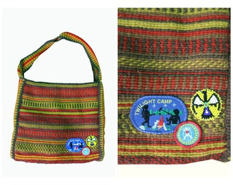 Boho Bag / Hippie Patch Festival Tote / Embroidered Vintage Upcycled 60's Boho Bag / Embroidered Patch Festival Bag / Summer of Love Tote