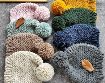 Knit Hat Pattern, Knitting Pattern, Chunky Knit Hat, Baby Hat Pattern, Beanie Pattern, Womens Knit Hat, Knit Hat Womens, Pom Pom Hat Pattern