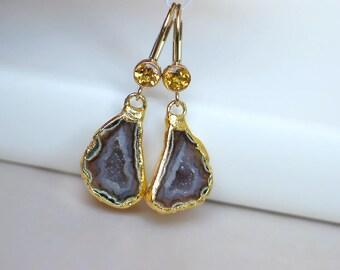 Geode Half Earrings | Pink Maroon Druzy | Golden Citrine Bezel 14k Gold Filled Leverback Dangles | Birthday Gift | Wedding | Ready to Ship