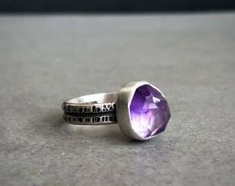 Rose Cut Amethyst & Sterling Silver Ring