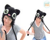Black Kitty Cat Hat With Green Eyes READY to SHIP for Teen-Adult Size
