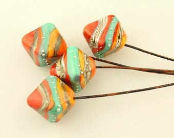 Lampwork Headpins, Glass Bead Head Pins on Antique Copper Wire, Southwest, Orange, Turquoise