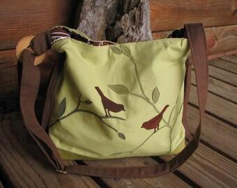 Bird Tote, Teacher's bag, Diaper Bag, Handbag, Travel Bag, Vegan Purse, Eco-Friendly Bag, Shoulder Bag, 6 Large Pockets