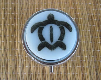 Turtle Fused Glass Metal Pill Box Case Holder