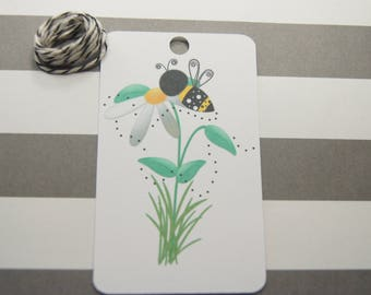 Sunflower and Bee Tags, Thank You Tags, Party Favor Tags, Gift Tags, Set of 8, Bees (T14)
