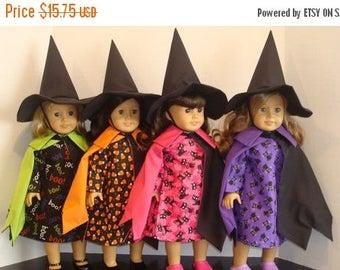 "ON SALE 18 Inch Doll Clothes, Fits 18"" American Girl Doll,Witch Costume, Cape, Witch hat, Candy corn, Black cat, Boo,READY To Ship"