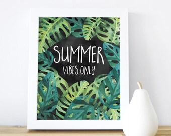Summer Wall Art Nursery Art Print Summer Vibes Poster Kids Print Tropical Leaves Nursery Decor Nursery Art Green. Summer Vibes Only Wall Art