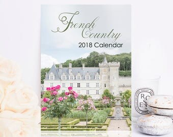2018 French Country Photo Calendar - 2018 Desk Calendar, French Decor, Gifts Under 25, Francophile, Stocking Stuffer, Gift Wrapped