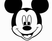 Mickey Mouse (face) iron on vinyl or Glitter vinyl transfer DIY applique patch